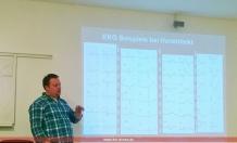 Martin Rembert mit verschiedenen EKG-Bildern